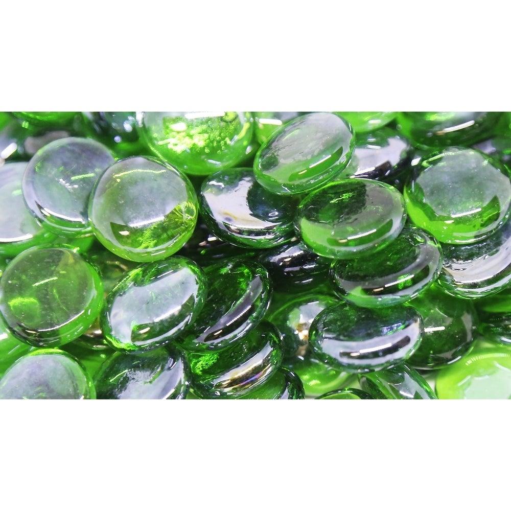 """1/2"""" Light Green Luster Fireglass Beads 10lb box (Green)"""