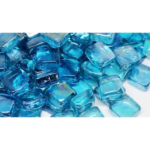 25mm Light Blue Fireglass Cubes- 10lb box