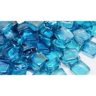 25mm Light Blue Fireglass Cubes- 10lb box