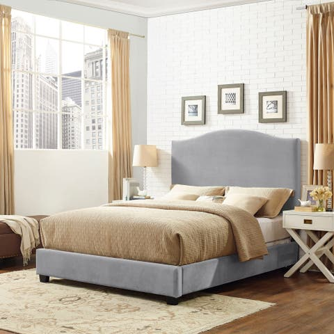 Bellingham Camelback Upholstered King Bedset in Shale Microfiber