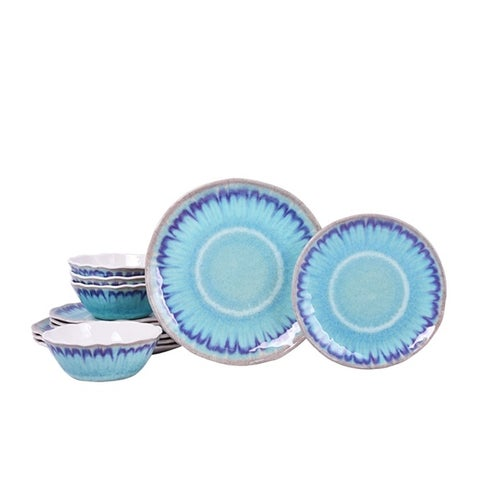 222 Fifth Sea Splash Turquoise 12 Piece Melamine Dinnerware Set, Service for 4