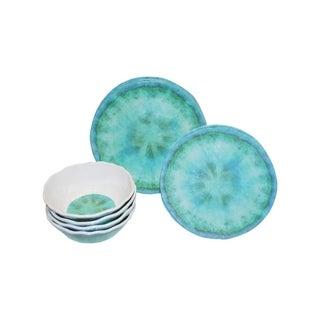 222 Fifth Fountain Turquoise 12 Piece Melamine Dinnerware Set