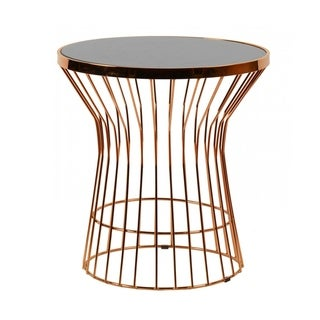 Modrest Ardath Modern Black Glass & Rosegold End Table