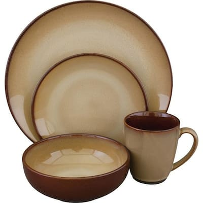 Sango Nova 16-Piece Ceramic Dinnerware Set, Brown