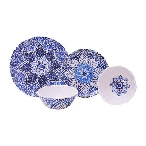 222 Fifth Rustic Medallion 12 Piece Melamine Dinnerware Set
