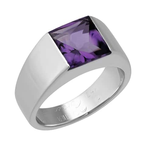 "Cartier 18K White Gold Purple Amethyst ""Tank ""Ring"