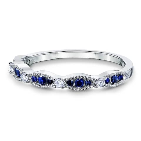 Annello by Kobelli 14k Gold 1/5ct TGW Blue Sapphire and White Diamond Natural Gemstone Ring Stackable Band