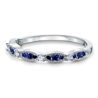 Annello By Kobelli 14k Gold 1 5ct TGW Blue Sapphire And White Diamond Natural Gemstone Ring Stackable Band