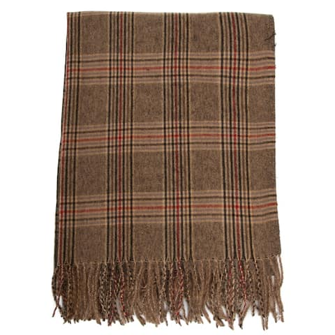 Men's Scarf, Plaid Scarf, Fringe Shawl Wrap Scarf