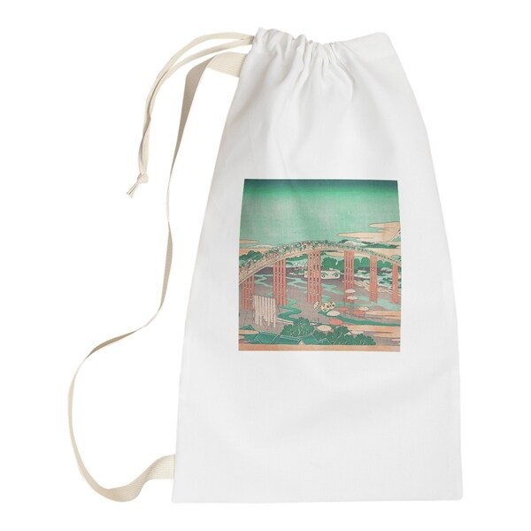 Katsushika Hokusai Japanese Bridge in Green and Peach Laundry Bag