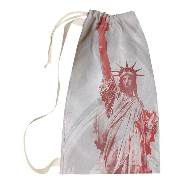 David Khieu Red Watercolor Statue of Liberty Laundry Bag