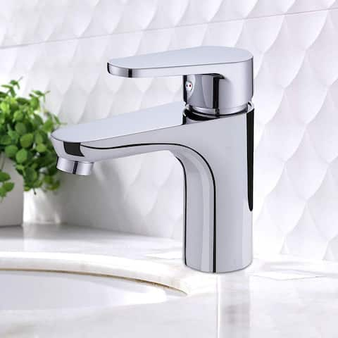 Vanity Art 5.9 Inch Single Hole and Single Handle Vessel Bathroom Sink Faucet Polished Chrome Deck Mounted Bathroom Faucet