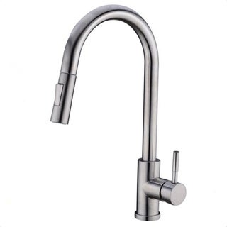 """Vanity Art 16.7"""" High Arch Single Handle 2-Function Pull Out Kitchen Faucet, Spot Free Stainless Steel, Brushed Nickel"""