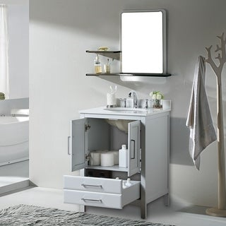 """Vanity Art 24"""" Single Sink Bathroom Vanity Set Soft-Clothing Doors 1 Shelf 2 Drawers with White Cultured Marble Top (Grey)"""