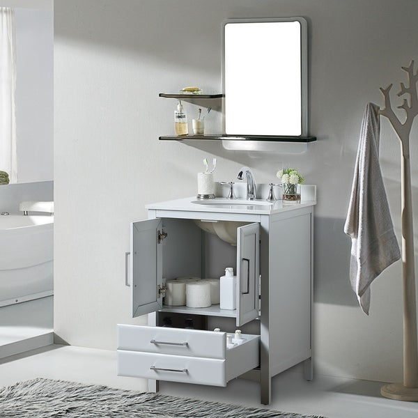 "Vanity Art 24"" Single Sink Bathroom Vanity Set Soft-Clothing Doors 1 Shelf 2 Drawers with White Cultured Marble Top (Grey)"