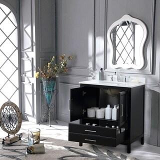 """Vanity Art 30"""" Single Sink Bathroom Vanity Set 1 Shelf 2 Drawers Small Bathroom Storage Floor Cabinet with White Marble Top"""