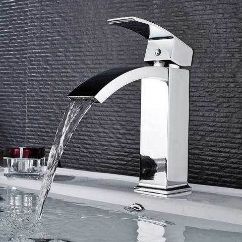 Vanity Art 6.7 Inch Single Hole and Single Handle Vessel Bathroom Sink Faucet Polished Chrome Deck Mounted Bathroom Faucet