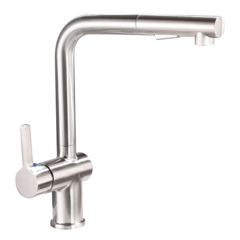 Vanity Art Pull Out Kitchen Faucet Brushed Nickel Finish High Arc Single handle Stainless Steel Kitchen Sink Sweep Spray Faucet
