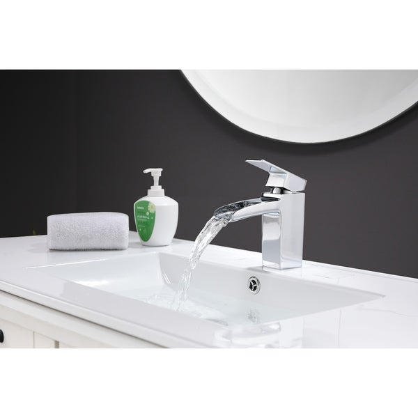 Bathroom Sink Faucet Waterfall Single Handle Hole Vessel Faucet High Body Chrome