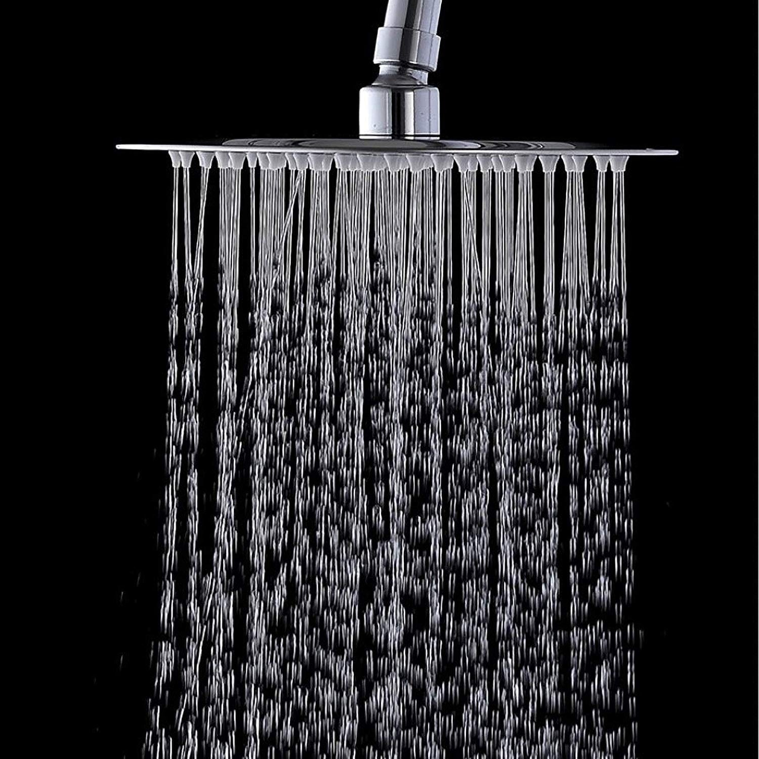 Vanity Art Luxury Solid Square 8 Ultra Thin Ceiling Mount Rain Shower Head With Adjustable Waterfall Brushed Nickel Finished