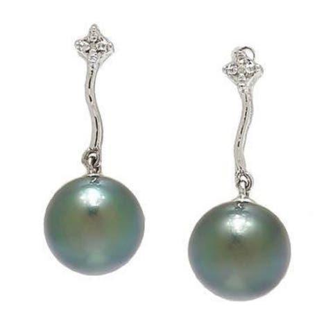 Tahitian pearl earring with Diamonds