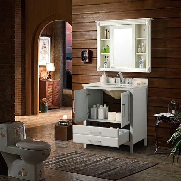 Vanity Art 30 Single Sink Bathroom Vanity Set 1 Shelf 2 Drawers Small Bathroom Storage Floor Cabinet With White Marble Top Overstock 27120209