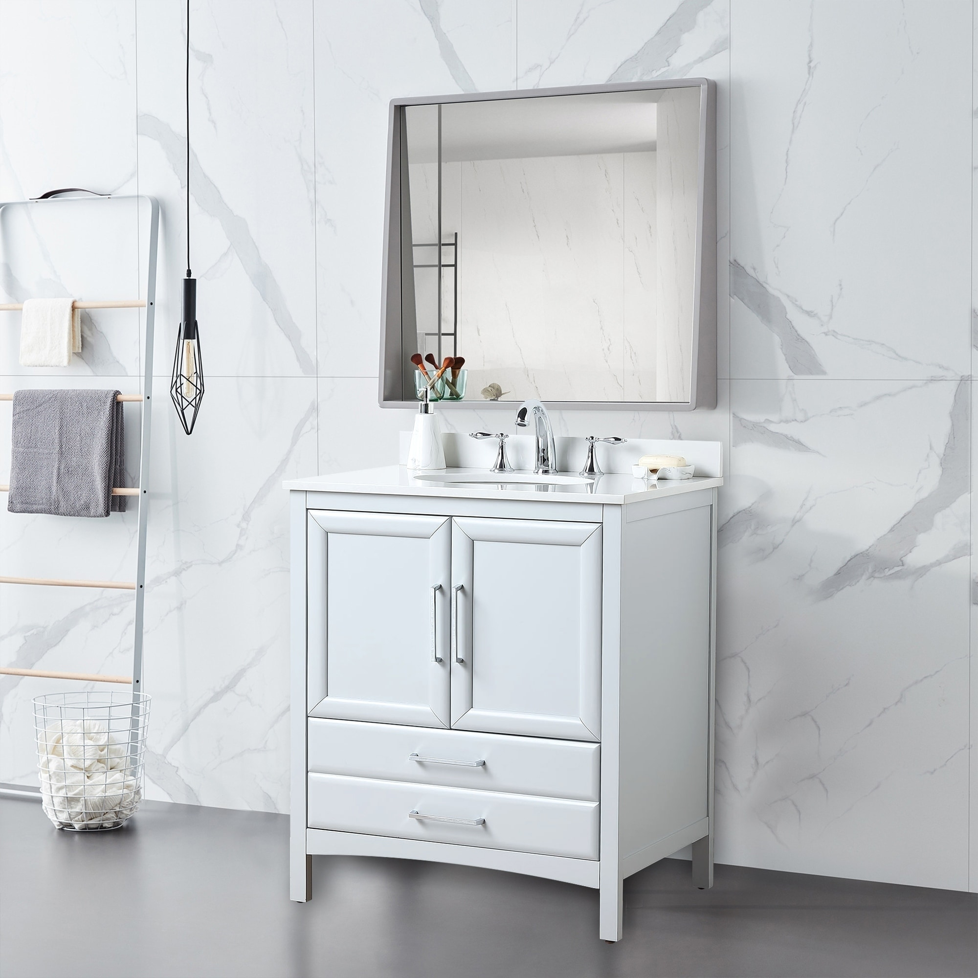 Vanity Art 30 Single Sink Bathroom Vanity Set 1 Shelf 2 Drawers Small Bathroom Storage Floor Cabinet With White Marble Top Overstock 27120209
