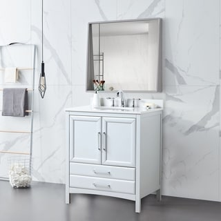 "Vanity Art 30"" Single Sink Bathroom Vanity Set 1 Shelf 2 Drawers Small Bathroom Storage Floor Cabinet with White Marble Top"