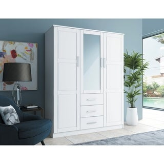 Cosmo 3-Door Wardrobe/Armoire with Mirror/3 Drawers by Palace Imports