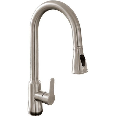 """Vanity Art 17"""" High Arch Single Handle 2-Function Sprayhead Pull Down Kitchen Faucet, Brushed Nickel"""