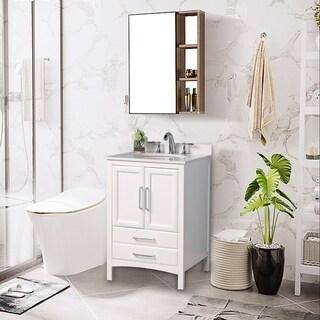 "Vanity Art 24"" Single Sink Bathroom Vanity Set Soft-Clothing Doors 1 Shelf 2 Drawers with White Cultured Marble Top (White)"