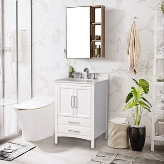 "Vanity Art 24"" Single Sink Bathroom Vanity Set Soft-Clothing Doors 1 Shelf 2 Drawers with White Cultured Marble Top (White)"