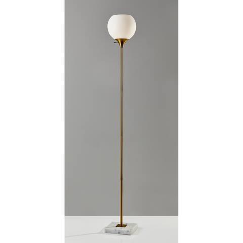 Strick & Bolton Menke Antique Brass Floor Lamp - Antique Brass