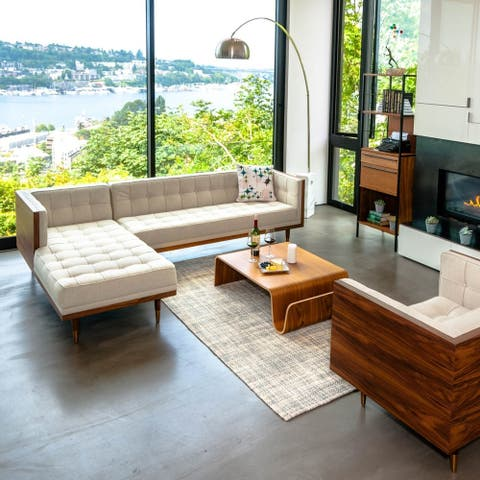Kardiel Woodrow Mid-century Modern Box Sofa Sectional