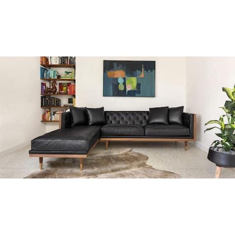 Kardiel Woodrow Neo Midcentury Mod Sofa Sectional, Top Grain Leather