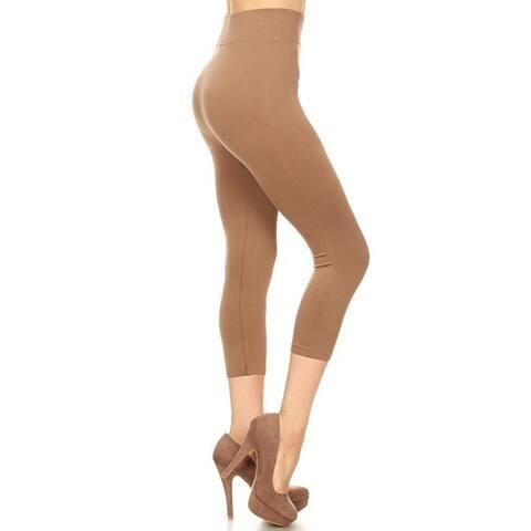 Lady's Solid Color Seamless Capri Legging