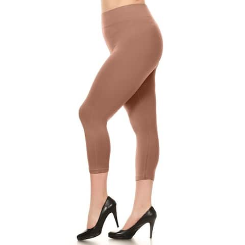 Lady's Solid Color Seamless Capri Legging (Plus Size)