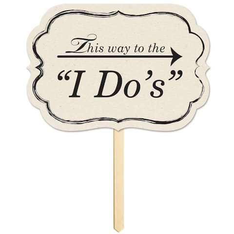 """Beistle 10"""" x 14.5"""" Wedding Theme This Way To The """"I Do's"""" Yard Sign - 6 Pack"""