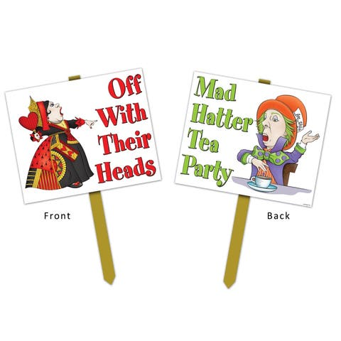 """Beistle 12"""" x 15"""" Alice In Wonderland Theme Yard Sign with 24"""" Pine Stake - 6 Pack"""