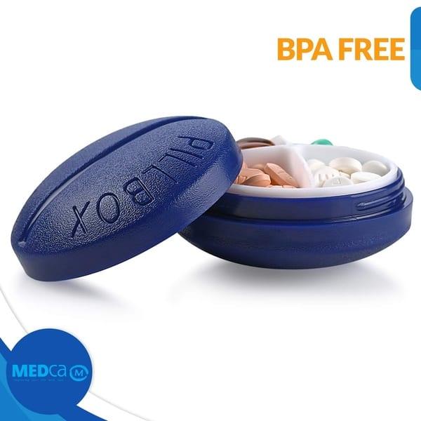 Shop Pill Box Round Case Medicine Organizer, Mini Compact