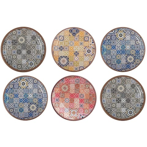 Melange 6-Piece Melamine Salad Plate Set (Moroccan Tiles) Shatter-Proof and Chip-Resistant Melamine Salad Plates Multicolor