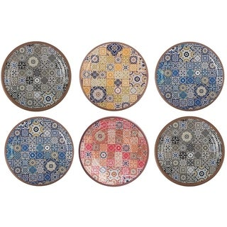 Melange 6-Piece Melamine Salad Plate Set (Moroccan Tiles)|Shatter-Proof and Chip-Resistant Melamine Salad Plates| Multicolor