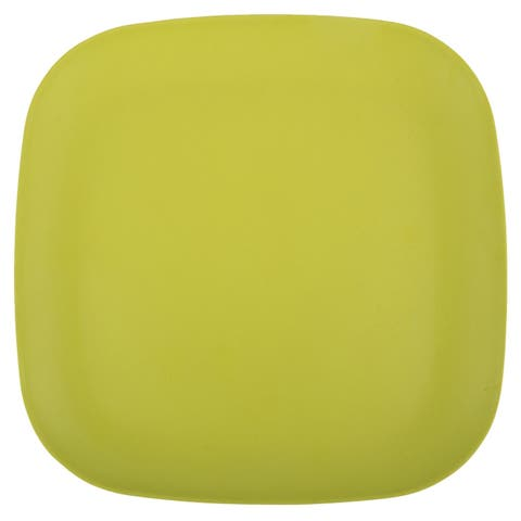 Melange 36-Piece Bamboo Dinner Plate Set (Squares Collection) Shatter-Proof and Chip-Resistant Bamboo Dinner Plates Lime Green