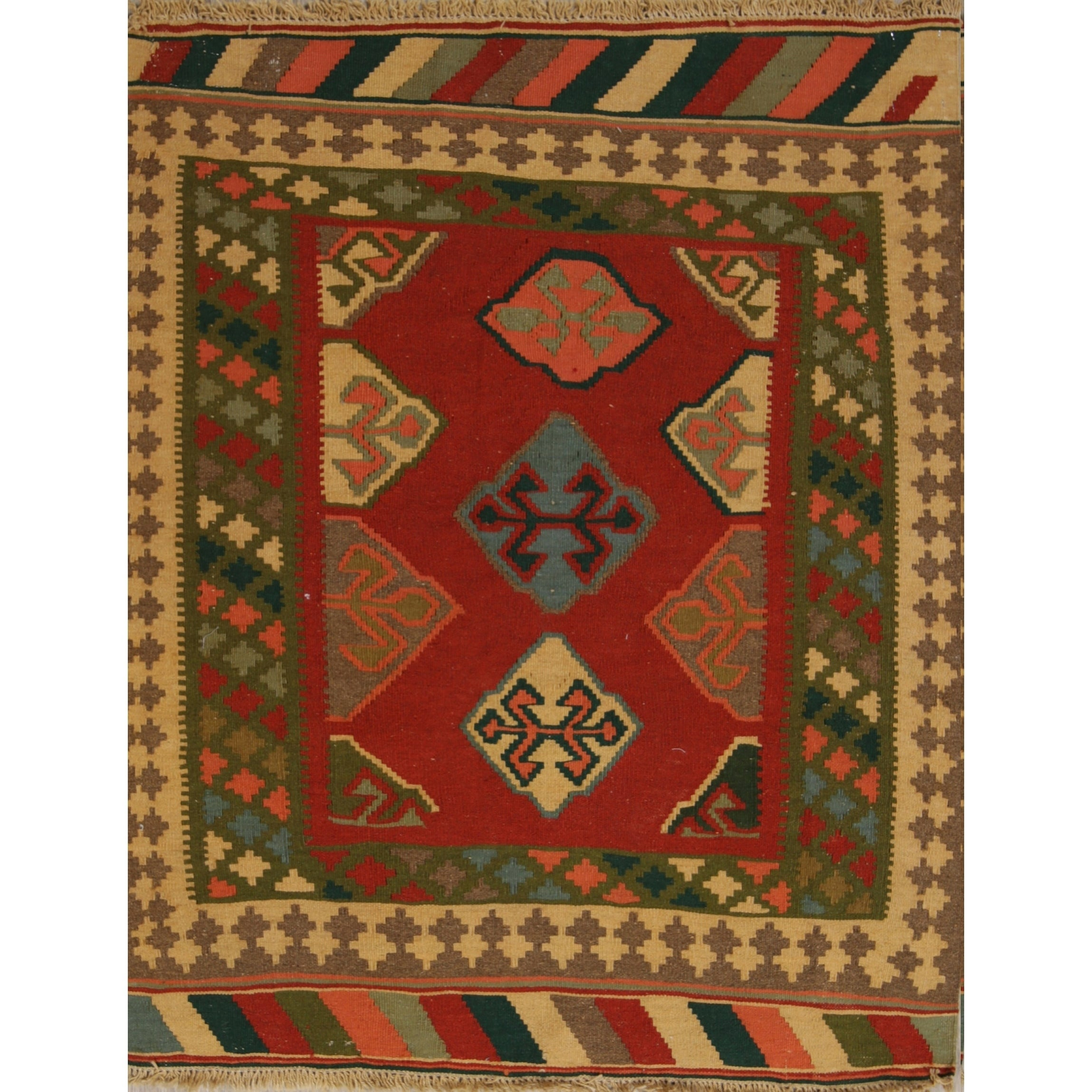 Kilim Geometric Hand Woven Wool Persian Area Rug 4 8 X 3 9 On Sale Overstock 27122937