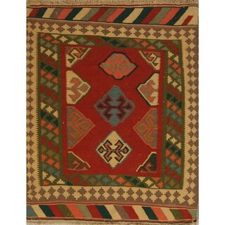 "Kilim Geometric Hand Woven Wool Persian Area Rug - 4'8"" x 3'9"""