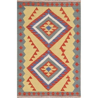 "Kilim Geometric Hand Woven Wool Persian Area Rug - 5'4"" x 3'1"""