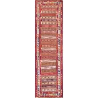 "Kilim Geometric Hand Woven Wool Persian Rug - 9'5"" x 2'8"" Runner"