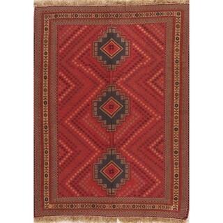 "Kilim Geometric Hand Woven Wool Persian Area Rug - 5'6"" x 4'1"""