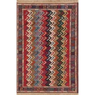 "Kilim Geometric Hand Woven Wool Persian Area Rug - 5'0"" x 3'5"""