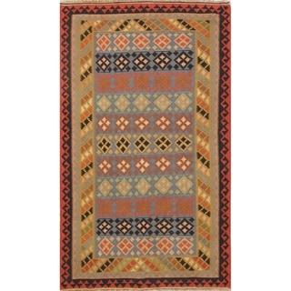 "Kilim Geometric Hand Woven Wool Persian Area Rug - 7'4"" x 4'4"""